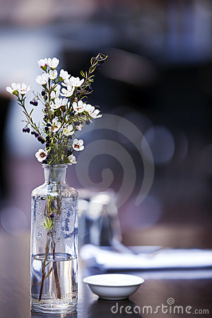 Flowers on Cafe Table