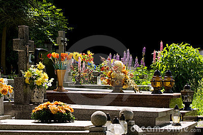 Flowers on cemetery