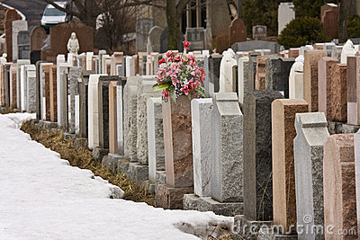 Flowers in a cemetery in winter