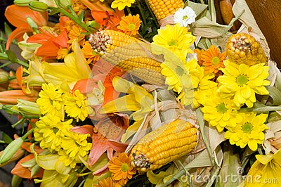 Flowers and corn bouquet