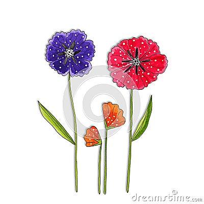 Flowers. decorative elements