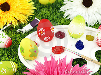 Flowers and Easter eggs on palette