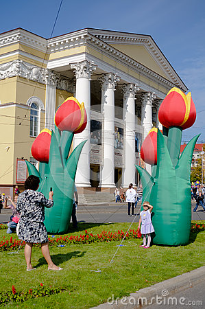 Flowers in front of the drama theatre. Kaliningrad Editorial Photo