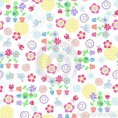 Flowers Garden Seamless Repeat Pattern
