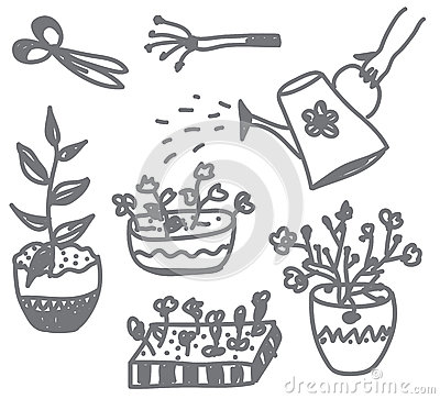Flowers gardening doodle with pots, cans