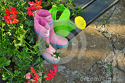 Flowers And Gardening Tools Royalty Free Stock Photos