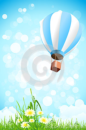 Flowers in the Grass and Hot Air Balloon