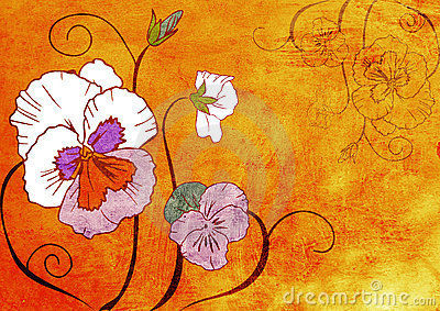 Flowers on grunge texture