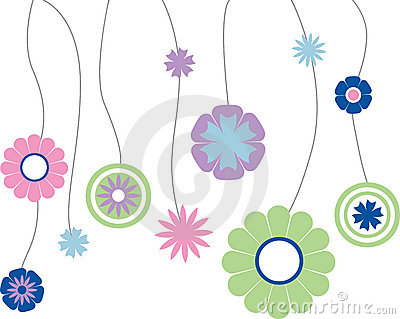 Flowers hanging on string