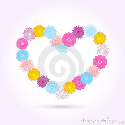 Flowers heart isolated