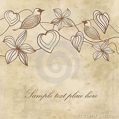 Free Flowers, Hearts And Birds On Vintage Paper Royalty Free Stock Photography - 22370487