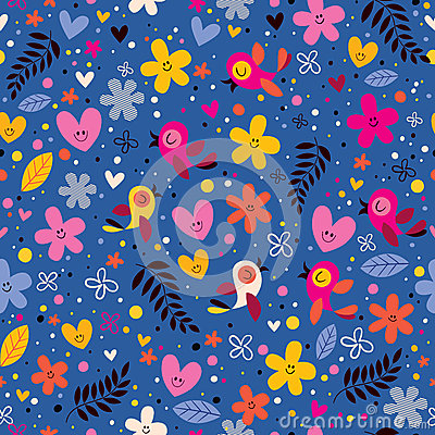 Free Flowers, Hearts, Birds Love Nature Seamless Pattern Stock Images - 44337224