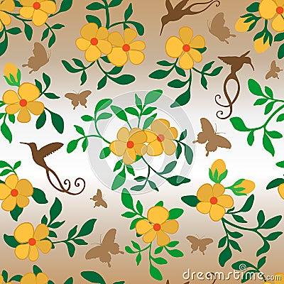 Flowers Hummingbirds Butterflies Seamless