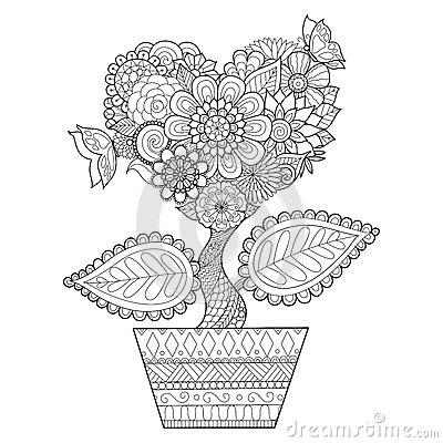 Free Flowers In Heart Shape On A Pot Line Art Design For Coloring Book For Adult, Tattoo, T- Shirt Graphic, Cards And So On Royalty Free Stock Photo - 71084825