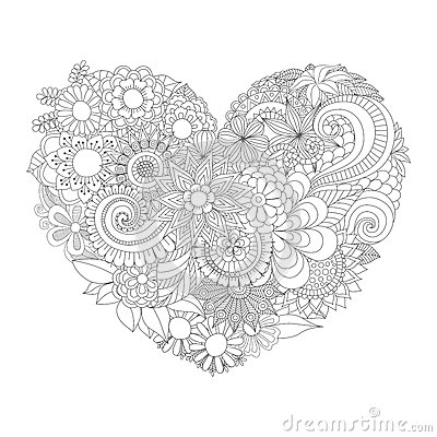 Free Flowers In The Heart Shape Pattern For Coloring Book Stock Image - 62857171