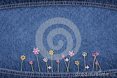 Flowers on jeans