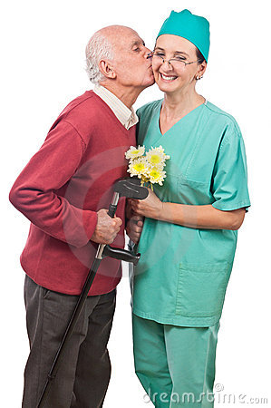 Flowers and kiss for doctor
