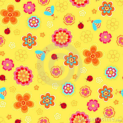 Flowers and Ladybugs Seamless Repeat Pattern