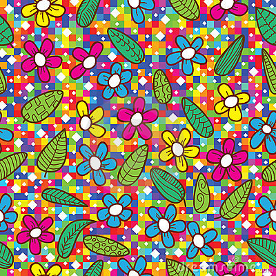 Flowers Leaves Colorful Mosaic Pattern_eps