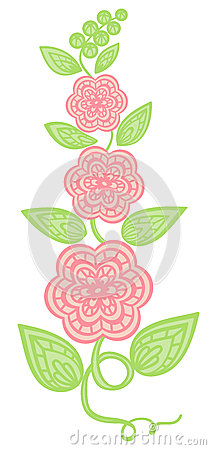 flowers and leaves element. imitation guipure embroidery.