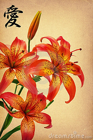 Flowers lily  and hieroglyph  love