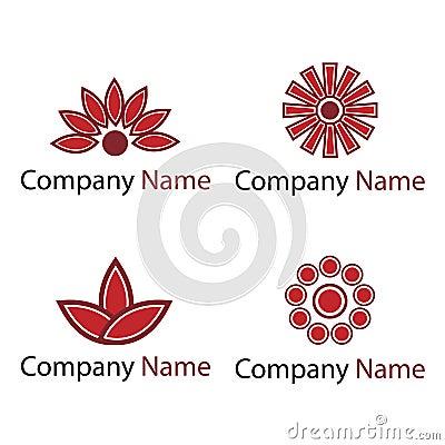 Flowers logos - red