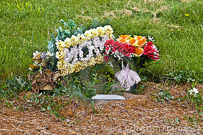 Flowers on mothers grave