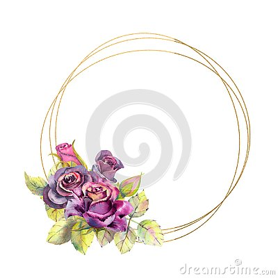 Free Flowers Of Dark Roses, Green Leaves, Composition In A Geometric Golden Frame. The Concept Of The Wedding Flowers. Round Stock Images - 144680014