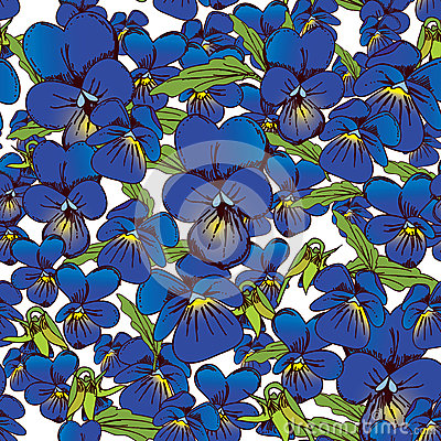 Free Flowers Of Pansies And Leaves Seamless Blue Background Patterns Royalty Free Stock Images - 44627629