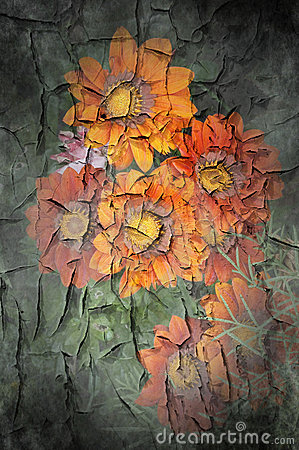 Free Flowers On Chipped Paint On Wall Royalty Free Stock Images - 21123089