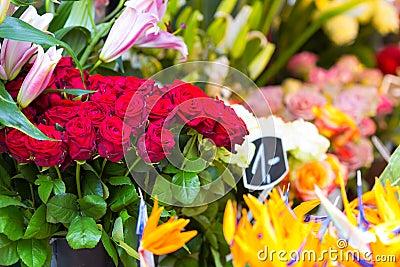 Flowers in outdoor shop