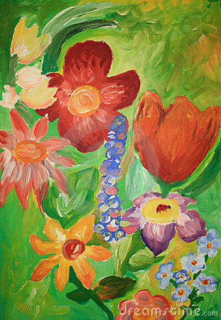 Flowers. Painting by a 14 years old child.