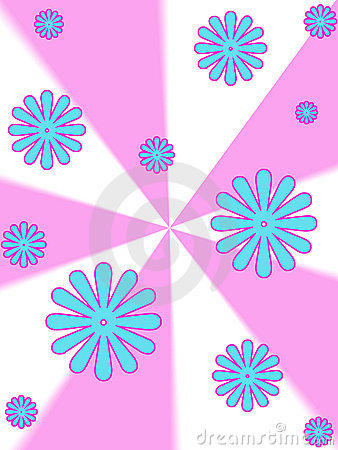 Flowers on pink stripes