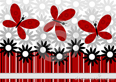 Flowers and Red Butterflies greeting card