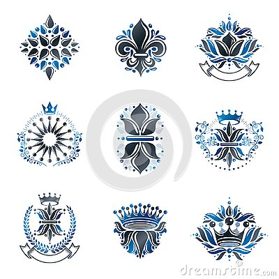 Free Flowers, Royal Symbols, Floral And Crowns, Emblems Set. Heraldic Coat Of Arms Decorative Logos Isolated Vector Illustrations Stock Photos - 137606223