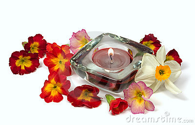Flowers and scented candle