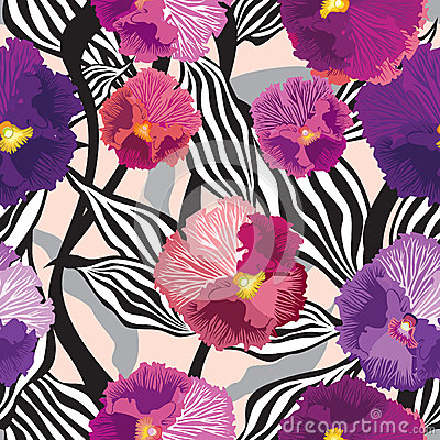 Free Flowers Seamless Background. Floral Seamless Texture With Flowers. Vector Graphic. Royalty Free Stock Image - 34956836
