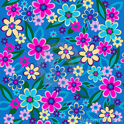 Flowers Seamless Repeat Pattern Vector