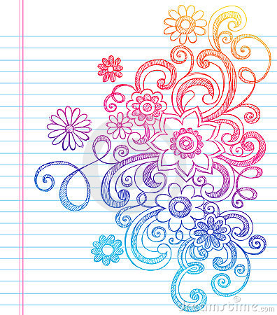 Flowers Sketchy Back to School Doodle Vector