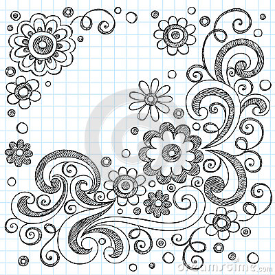 Flowers Sketchy Doodles Vector Design Elements