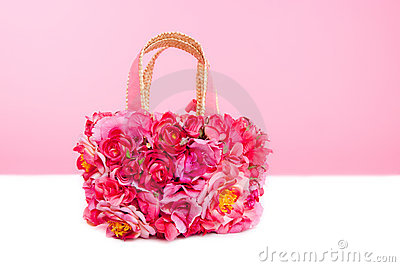 Flowers spring bag in pink and red roses on white