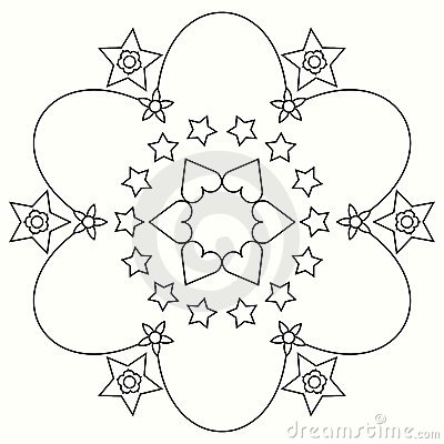 Flowers and stars coloring mandala