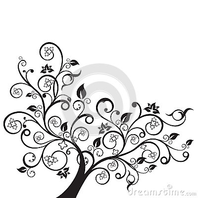 Flowers and swirls design element silhouette