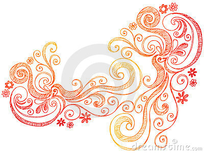 Flowers and Swirls Doodle Vector Border