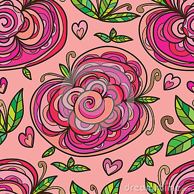 Free Flowers Three Leaves Seamless Pattern Royalty Free Stock Image - 74379896