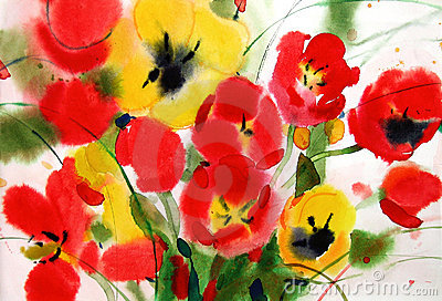 Flowers tulips, watercolor
