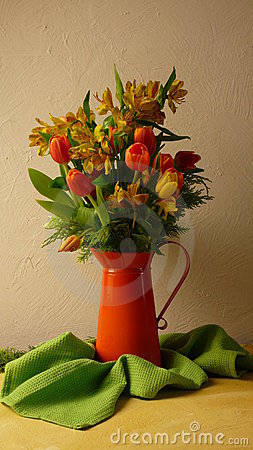 Vase with beautiful flowers