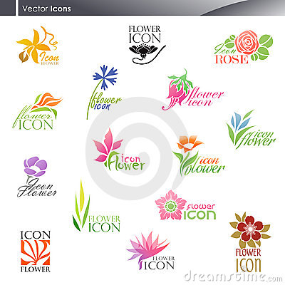 Flowers. Vector logo template set.