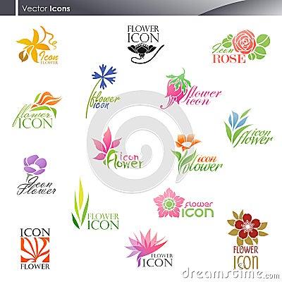 Free Flowers. Vector Logo Template Set. Stock Photo - 21909800