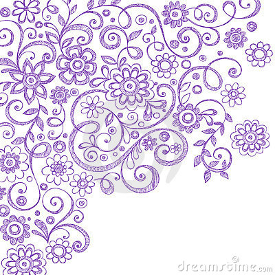 Flowers And Vines Sketchy Notebook Doodles Royalty Free Stock